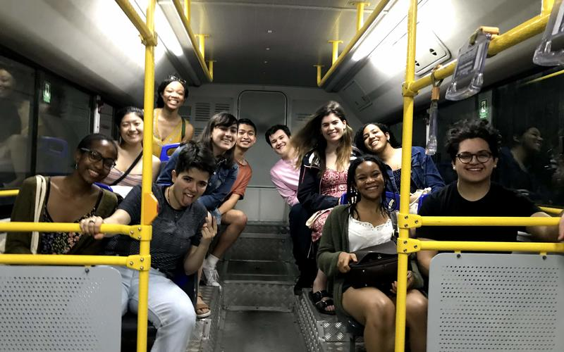 The students enjoyed catching a local bus home from a concert in Old Havana. (Photo by Alison Kibbe)