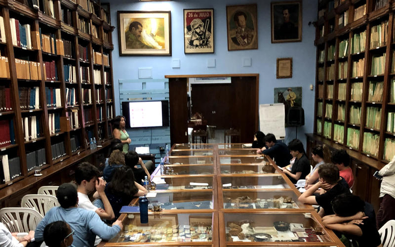 At the Fundación Antonio Jiménez listening to a lecture on economics and gender in Cuban society. (Photo by Daniel Juarez)
