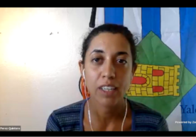 Panelist Ana Elisa Pérez-Quintero relates lessons learned in resiliency from running an agroecological farm in Vieques PR.
