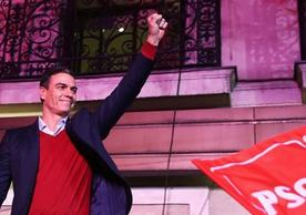 Spanish Acting Prime Minister and Socialist party leader Pedro Sánchez celebrating yesterday's election.
