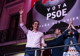 Spanish Prime Minister Pedro Sánchez celebrating PSOE's performance in Sunday's election.