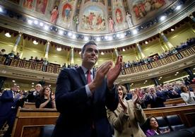 Acting Prime Minister Pedro Sánchez after the Spanish Congress of Deputies approved the new Socialist-Podemos government yesterday.